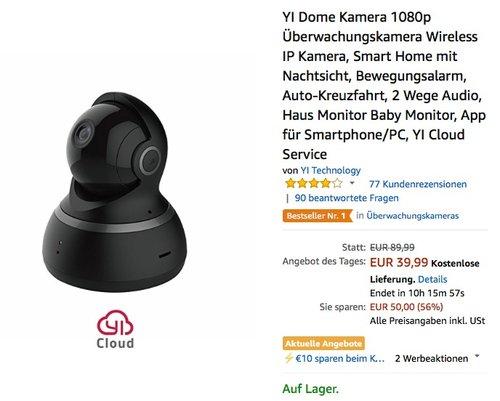 YI Dome Kamera 1080p Überwachungskamera Wifi IP Kamera - jetzt 22% billiger