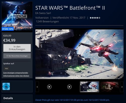 Star Wars Battlefront II - [PlayStation 4] - jetzt 20% billiger