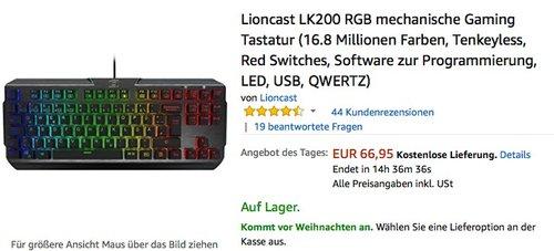 Lioncast LK200 RGB Gaming Tastatur - jetzt 26% billiger