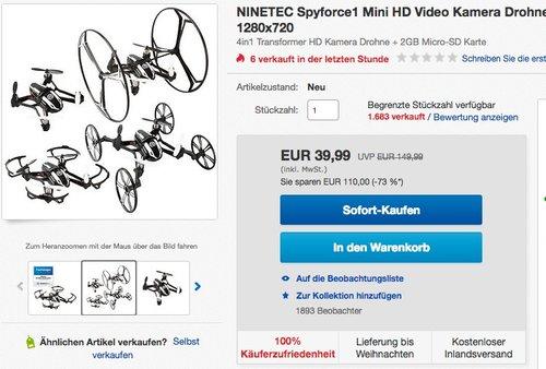 NINETEC Spyforce1 Mini HD Video Kamera Drohne  - jetzt 20% billiger