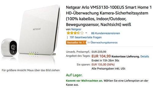 Netgear Arlo Smart Home 1 HD-Überwachung Kamera-Sicherheitssystem - jetzt 16% billiger