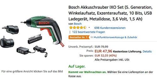 Bosch Akkuschrauber IXO Set 5 Generation, Winkelaufsatz, Exzenteraufsatz, 10 Bit - jetzt 17% billiger