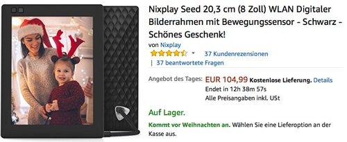 Nixplay Seed 20,3 cm (8 Zoll) WLAN Digitaler Bilderrahmen  - jetzt 30% billiger
