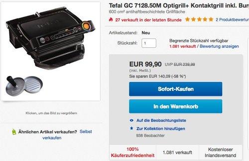 TEFAL GC 7128 Optigrill+ - jetzt 28% billiger