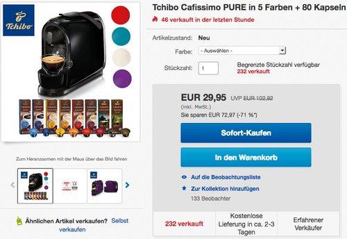 Tchibo Cafissimo Pure Kapselmaschine - jetzt 56% billiger