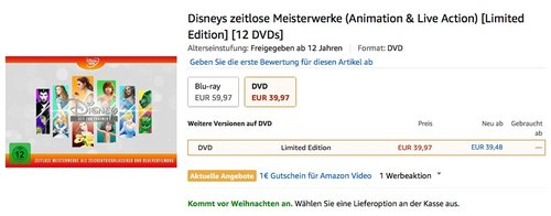 Disneys zeitlose Meisterwerke Animation & Live Action Limited Edition DVD - jetzt 27% billiger