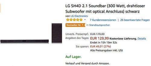 LG SH4D 2.1Soundbar - jetzt 13% billiger