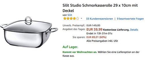 Silit Studio Schmorkasserolle  - jetzt 32% billiger