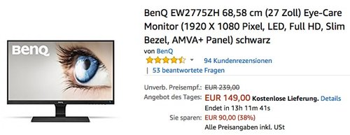 BenQ EW2775ZH 68,58 cm (27 Zoll) Eye-Care Monitor - jetzt 16% billiger