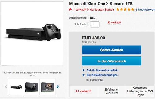 Microsoft Xbox One X Konsole 1TB - jetzt 10% billiger