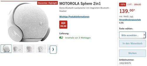 Motorola Sphere 2 in 1 Stereo Bluetooth Lautsprecher und Kopfhörer Set - jetzt 9% billiger