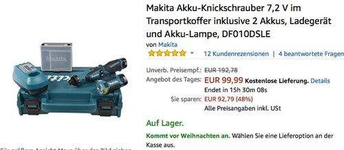 Makita Akku-Knickschrauber 7,2 V im Transportkoffer inklusive 2 Akkus - jetzt 21% billiger