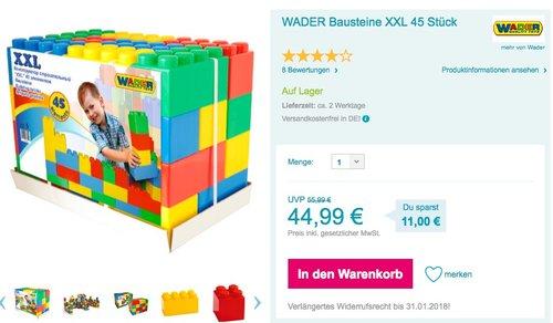 WADER Bausteine XXL 45 Stück - jetzt 9% billiger