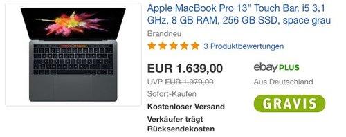 "Apple MacBook Pro 13"" Touch Bar, i5 3,1 GHz, 8 GB RAM, 256 GB SSD, space grau - jetzt 5% billiger"