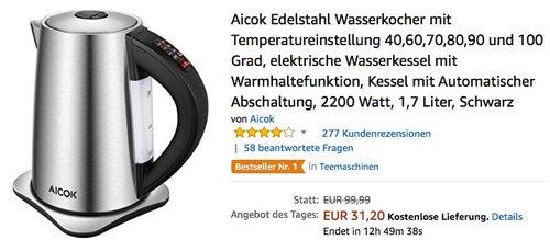 Aicok Edelstahl Wasserkocher mit Temperatureinstellung - jetzt 23% billiger