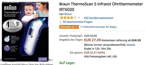 Braun ThermoScan 5 Infrarot Ohrthermometer IRT6020 - jetzt 19% billiger
