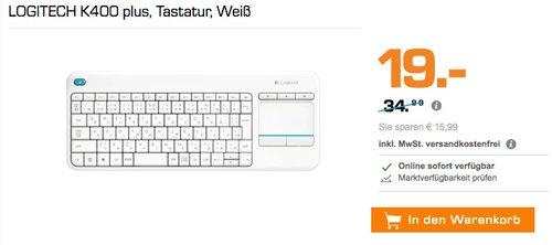 Logitech K400 Plus Wireless Touch Tastatur weiß - jetzt 43% billiger
