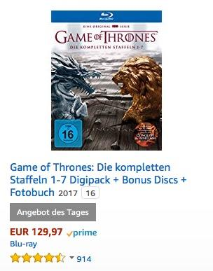 Game of Thrones: Die kompletten Staffeln 1-7 Digipack + Bonus Discs + Fotobuch [Blu-ray] [Limited Edition] - jetzt 30% billiger