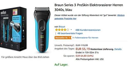 Braun Series 3 ProSkin Elektrorasierer Herren 3040s - jetzt 21% billiger