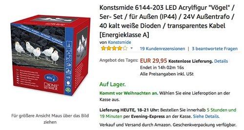 """Konstsmide 6144-203 LED Acrylfigur """"Vögel"""" / 5er- Set / für Außen (IP44) / 24V - jetzt 19% billiger"""