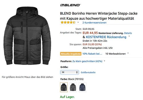 BLEND Borinho Herren Winterjacke - jetzt 25% billiger