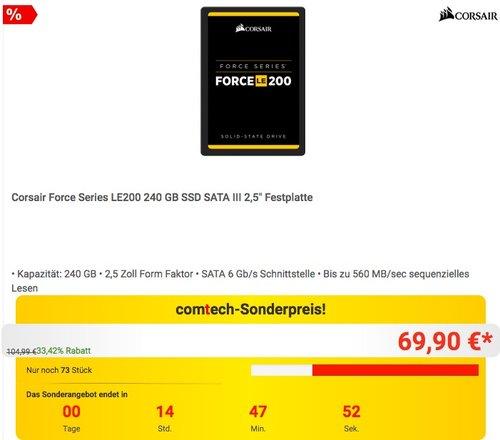 Corsair Force LE200 240 GB SSD Drive - jetzt 24% billiger