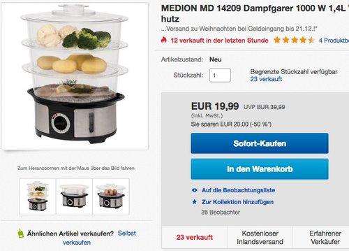 MEDION MD 14209 Dampfgarer - jetzt 33% billiger