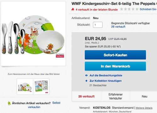 WMF Kindergeschirr-Set 6-teilig The Peppels - jetzt 30% billiger