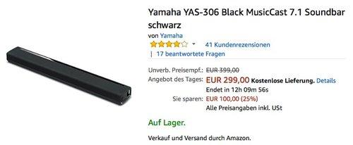 Yamaha YAS-306 Black MusicCast 7.1 Soundbar - jetzt 9% billiger