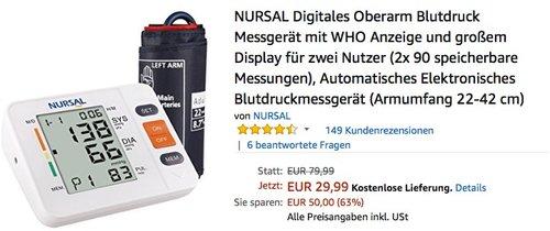 NURSAL Digitales Oberarm Blutdruck Messgerät mit WHO Anzeige - jetzt 47% billiger