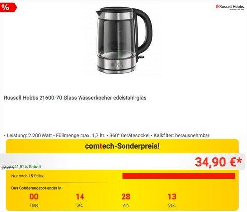 Russell Hobbs 21600-70 Glass Wasserkocher - jetzt 35% billiger