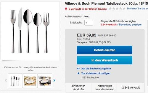 Villeroy & Boch Piemont Tafelbesteck 30tlg - jetzt 39% billiger