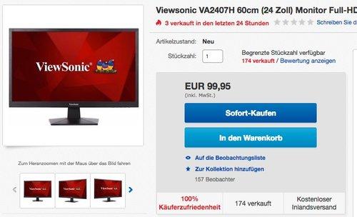 Viewsonic VA2407H 60cm (24 Zoll) Monitor  - jetzt 8% billiger