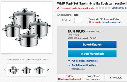 WMF Saphir Topf-Set 4-teilig - jetzt 30% billiger