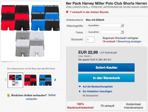 6er Pack Harvey Miller Polo Club Shorts Herren Boxershorts  - jetzt 18% billiger