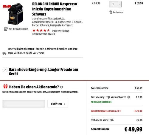 DELONGHI EN80B Nespresso Inissia Kapselmaschine - jetzt 24% billiger