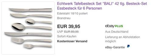 """Echtwerk Tafelbesteck Set """"BALI"""" 42 tlg. - jetzt 28% billiger"""