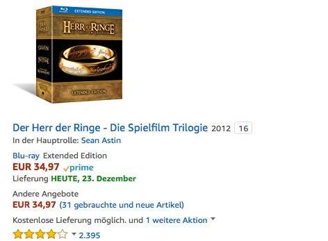 Der Herr der Ringe - Die Spielfilm Trilogie (Extended Edition) Blu-ray - jetzt 29% billiger