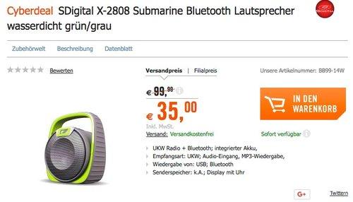 SDigital X-2808 Submarine Bluetooth Lautsprecher wasserdicht grün/grau - jetzt 61% billiger
