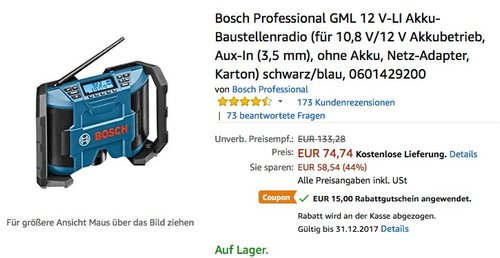 Bosch Professional GML Akku-Baustellenradio  - jetzt 20% billiger