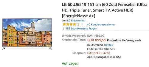 LG 60UJ6519 151 cm (60 Zoll) Fernseher - jetzt 7% billiger