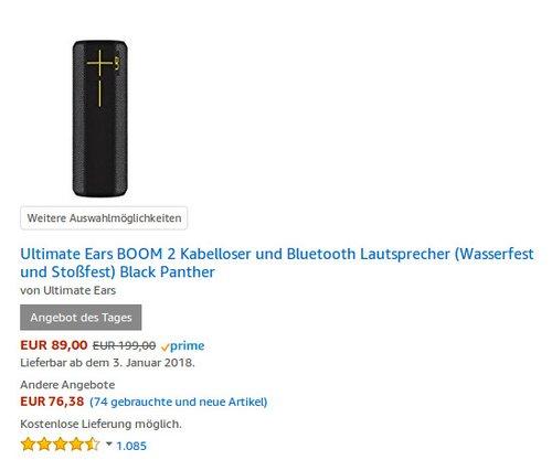 Ultimate Ears BOOM 2 Bluetooth Lautsprecher Black Panther - jetzt 30% billiger