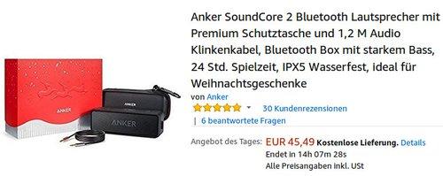 Anker SoundCore 2  Bluetooth Lautsprecher mit Premium Schutztasche - jetzt 21% billiger
