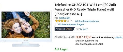 Telefunken XH20A101-W 51 cm (20 Zoll) Fernseher - jetzt 21% billiger