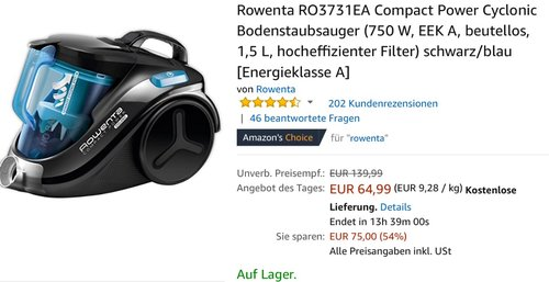 Rowenta RO3731EA Bodenstaubsauger - jetzt 16% billiger