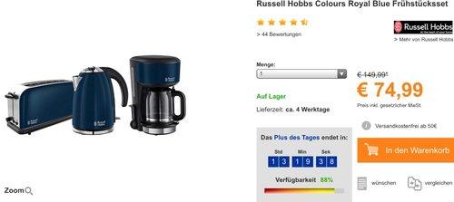 Russell Hobbs Colours Royal Blue Frühstücksset - jetzt 25% billiger