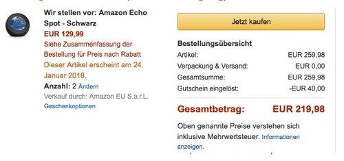 2 x Amazon Echo Spot - Schwarz - jetzt 15% billiger