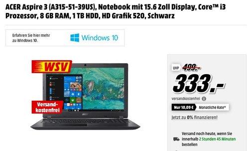 Acer Aspire 3 i3-6006U, 8GB RAM, 1TB HDD - jetzt 17% billiger