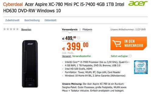 Acer Aspire XC-780 Mini PC i5-7400 - jetzt 20% billiger