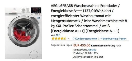 AEG L6FBA68 Waschmaschine Frontlader - jetzt 9% billiger